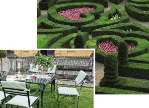 Kombination aus Gartentisch Provence und Gartenstuhl Cannes, Pulverbeschichtet und Witterungsbeständig aus Edelstahl vor einem See im Labyrinth