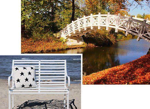 klassisch, zeitlose Edelstahl 2er / 3er Gartenbank Nizza am Strand oder im Park an einer Brücke