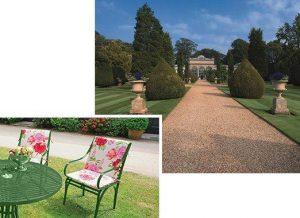 zeitloser, beständiger, rostfreier Gartenstuhl Nizza mit filigraner Erscheinung, mit Polstern wetterfest im Park
