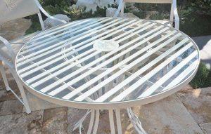 Tischplatte aus Sicherheitsglas vom Gartentisch Côte d´Azur, stoßfest, schlagfest, biegsam und unverwüstlich