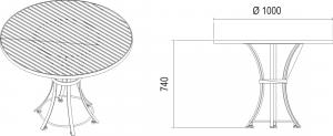 wahrheitsgemäßige Maße des Gartentisch Riviera aus Edelstahl skizziert