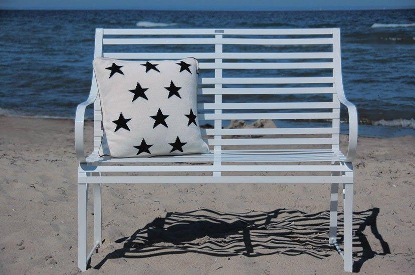 klassisch, zeitlose Edelstahl 2er / 3er Gartenbank Nizza am Strand mit wetterfestem Kissen
