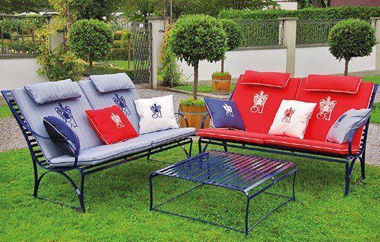 Edelstahl Loungemöbel Monaco mit passender, wetterfesten Lounge Auflage mit konfortablem Nackenkissen für Draußen, abziehbar und maschinenwaschbar