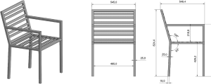 Maße und Winkel des Gartenstuhl Grand Plaza aus Edelstahl skizziert