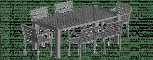 Gartenstuhl Grand Plaza und Gartentisch modelliert in grau